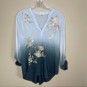 Tiny for Anthropologie Ombré Floral Button Down XS